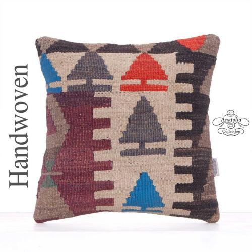 "Oriental Turkish Kilim Pillow 16x16"" Retro Handmade Rug Cushion Cover"