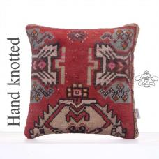 "Red Rug Pillowcase 16x16"" Vintage Handmade Anatolian Cushion Cover"