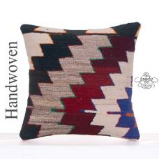 "Retro Home Decoration Kilim Pillow 16x16"" Tribal Turkish Rug Cushion"