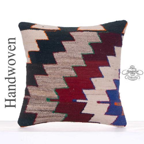 "Retro Home Decoration Kilim Pillow 16x16"" Tribal Turkish Rug Cushion"