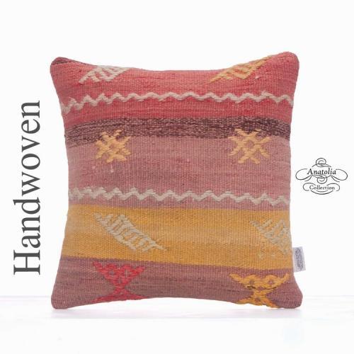 Retro Interior Decor Pillow Embroidered Colorful 16x16 Kilim Rug Throw