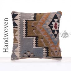 "Square Anatolian Kilim Pillow 16x16"" Geometric Decorative Rug Cushion"