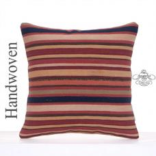 "Striped Old Kilim Pillow 16"" Colorful Retro Turkish Rug Cushion Throw"