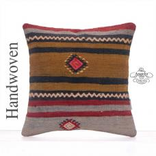 Striped Retro Cushion Cover 16x16 Retro Turkish Kilim Rug Throw Pillow