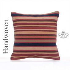 "Striped Rug Cushion Cover 16x16"" Tight Woven Colorful Kilim Pillowcase"