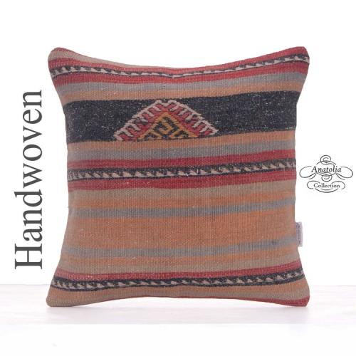 "Striped Vintage Rug Pillow Cover 16x16"" Retro Hand Woven Kilim Cushion"