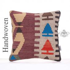 "Tribal Kilim Pillow 16"" Anatolian Handmade Rug Decor Throw Pillowcase"