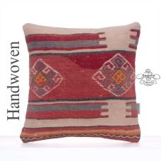 "Vintage Red Kilim Pillow Anatolian 16x16"" Tribal Rug Cushion Cover"