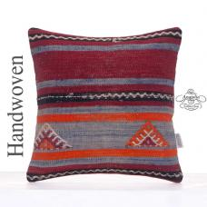 "Vintage Rug Cushion Cover 16x16"" Striped Handmade Kilim Throw Pillow"