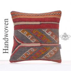 "Vintage Turkish Kilim Pillow 16x16"" Decorative Handmade Square Cushion"