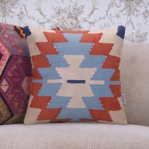 """Anatolian Designer Kilim Pillow 16x16"""" Tribal Vintage Rug Pillowcase"""