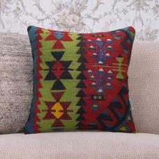 Anatolian Handmade Designer Pillow Cover 16x16 Ethnic Kilim Rug Cushion