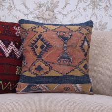 "Antique Handmade Kilim Pillowcase 16x16"" Anatolian Ethnic Rug Cushion"