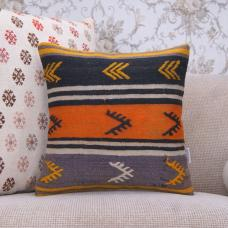 Embroidered Striped Rug Pillow Orange & Black Handmade Kilim Pillowcase