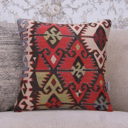 "Geometric Anatolian Rug Pillowcase 16x16"" Handmade Retro Throw Pillow"