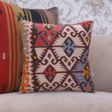 Geometric Decorative Kilim Pillowcase 16x16 Oriental Turkish Rug Pillow