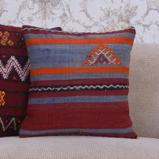 "Handmade Vintage Tribal Kilim Pillow Cover 16x16"" Decorative Sofa Throw"
