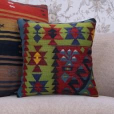 Oriental Kilim Pillowcase 16x16 Colorful Living Room Decor Throw Pillow