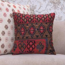 "Rare Anatolian Kilim Pillow 16"" Handmade Home Decor Accent Rug Cushion"