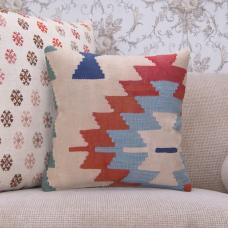 "Shabby Handmade Old Kilim Pillowcase 16x16"" Tribal Turkish Rug Cushion"