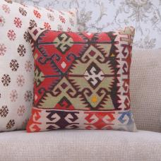 "Unique Handmade Rug Pillow Cover 16"" Geometric Anatolian Kilim Cushion"
