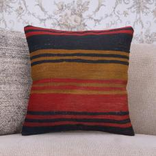 "Vintage Striped Pillow Handmade Decorative 16x16"" Kilim Rug Cushion"
