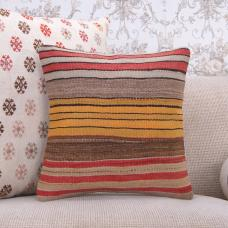 "16x16"" Handmade Striped Kilim Pillow Decorative Square Rug Sofa Throw"