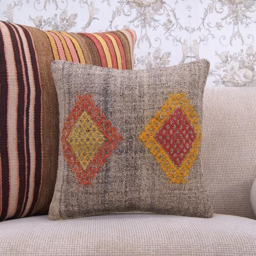 "Baklava Embroidered Kilim Pillowcase Retro 16x16"" Designer Rug Cushion"