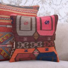 "Bohemian Decor Kilim Throw Pillow 16x16"" Colorful Handmade Rug Cushion"
