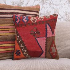 Bohemian Pillow Cover Colorful 16x16 Eastern Handmade Kilim Rug Cushion