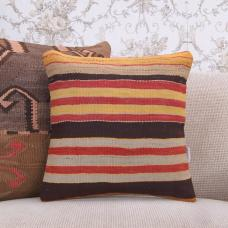 "Brown & Yellow Striped Kilim Pillow 16"" Handmade Decorative Sofa Throw"