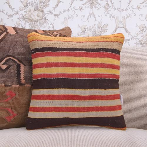"Brown & Yellow Striped Kilim Pillow 16"" Handmade Decorative Sofa Throw"