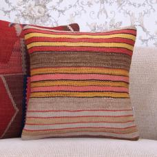"Colorful Handmade Kilim Pillow 16x16"" Striped Decorative Cushion Cover"