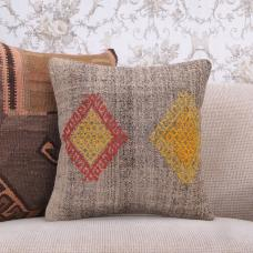 "Decorative Gray Kilim Pillowcase 16x16"" Embroidered Sofa Couch Throw"