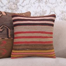 "Decorative Striped Rug Cushion Cover 16"" Turkish Handmade Kilim Pillow"