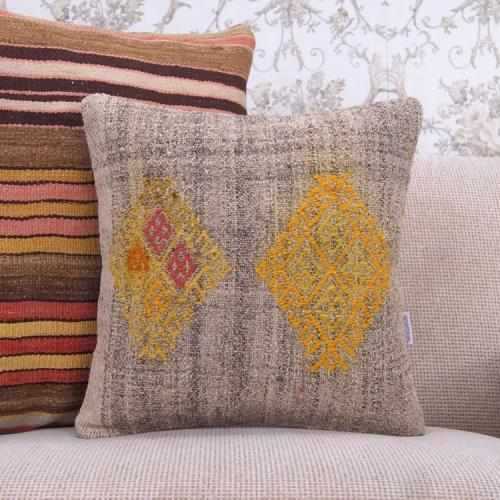 "Eclectic Yellow Embroidered 16x16"" Anatolian Handmade Kilim Rug Pillow"
