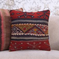 "Embroidered Retro Kilim Pillowcase 16"" Decorative Red Rug Throw Pillow"