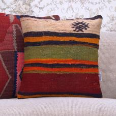 "Ethnic Tribal Kilim Pillow 16x16"" Hand Woven Square Rug Cushion Cover"