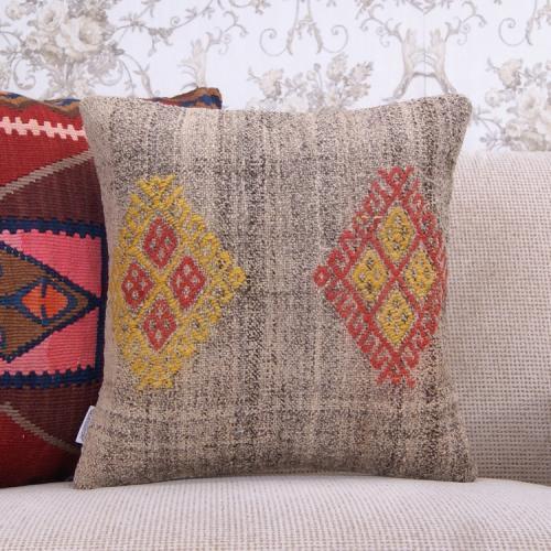 "Gray Kilim Pillowcase 16x16"" Decorative Embroidered Rug Cushion Cover"