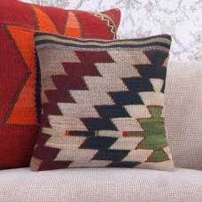 "Hand On Hips Design Rug Cushion 16x16"" Aztec Decorative Kilim Pillow"
