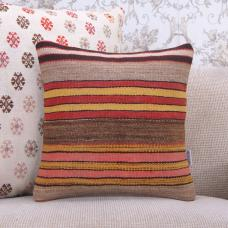 Hand Woven Square Kilim Pillow Colorful 16x16 Striped Retro Rug Cushion