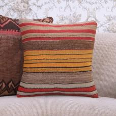 "Handmade Kilim Pillow Cover Striped 16x16"" Colorful Turkish Rug Cushion"