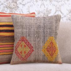 "Natural Gray Rug Cushion Cover Embroidered Decorative 16"" Kilim Pillow"