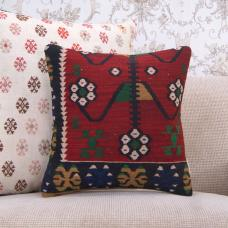 Oriental Vintage Turkish Kilim Pillowcase 16x16 Sofa Decor Throw Pillow