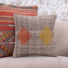 Red & Yellow Embroidered Kilim Pillowcase 16x16 Gray Natural Rug Pillow