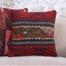 "Red Handmade Kilim Pillowcase 16x16"" Embroidered Anatolian Throw Pillow"