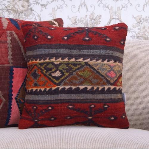 "Red Handmade Kilim Pillowcase 16x16"" Embroidered Anatolian Throw Pillow"