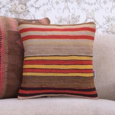 "Retro Decorative Rug Cushion Cover Striped 16x16"" Turkish Kilim Pillow"