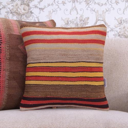 "Retro Decorative Rug Cushion Cover Striped 16x16"" Turkish Kilim Pillow"