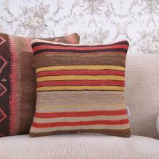 "Rustic Interior Decor Pillow Striped 16x16"" Handmade Kilim Rug Throw"